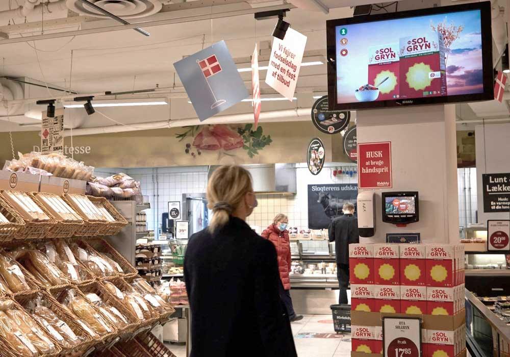 Retail reklame på skærme i forretninger